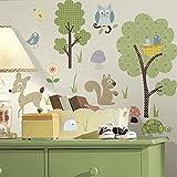 Hochwertiger Wandtattoo Tattoo Wand Tattoo Waldtiere Eule Reh Eichhörnchen Schildkröte Baum künstlerisch mit außergewöhnlichem Design macht die Wand zu einen echten Blickfang