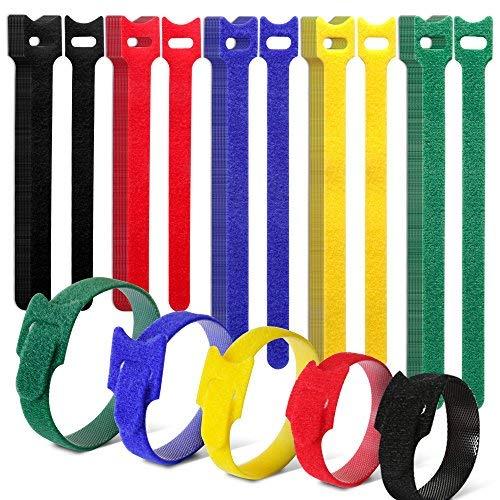 Teenitor 50pezzi colorati riutilizzabile fascette fermacavi in velcro, gancio e loop fascette in 3diverse dimensioni con design speciale