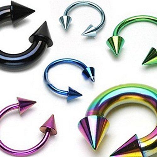 Lot de 10 Piercing poitrine rainbow titane sur acier chirurgical 316L Taille 4 mm x 12 mm x Noir