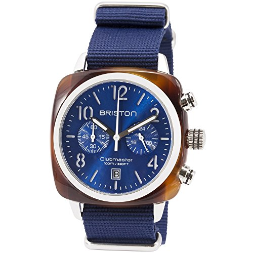 Briston Watch | Uhr Clubmaster Classic Chronograph mit Schildpatt-Acetat und blauem Sonnenstrahl-Zifferblatt | Clubmaster Classic Chronograph with tortoise shell acetate and blue sunray dial,