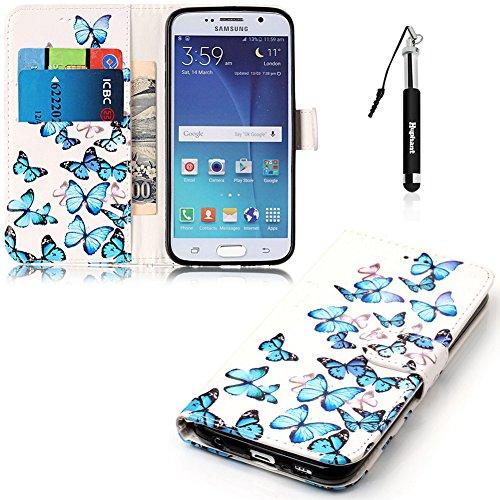 Galaxy S6 Hülle, Galaxy S6 Tasche Leder, Huphant Flip Case Leder [Painting Serie]PU Leather Case Wallet Case Magnet Case Book Case Schutzhülle Klappbar für Samsung Galaxy S6(5,1 Zoll)+1X Schwarzer Stylus Touchscreen Pen - Small Blue Butterflies