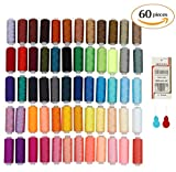 SOLEDI High Quality 60pcs in One 60 Colors Polyester Excellent Sewing Textile Embroidery Thread Spools Machine Sewing Kit Set Hand Machine 164 Yard Multi Color Gift Hot