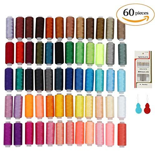 Kit cucito soledi fili cucito 60 colori con 16 aghi e 2 infila aghi per cucire a macchina e cucire a mano usato per vestiti da cucire - quilting - ricamo - cucito