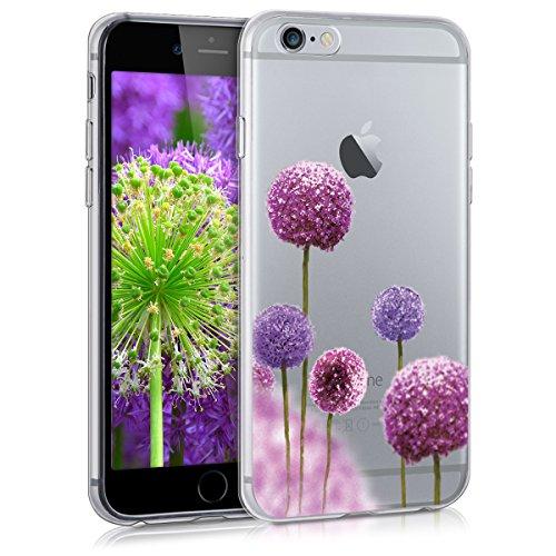 kwmobile Crystal Case Hülle für > Apple iPhone 6 / 6S < aus TPU Silikon mit Blume Kugel Design - Schutzhülle Cover klar in Pink Violett Transparent
