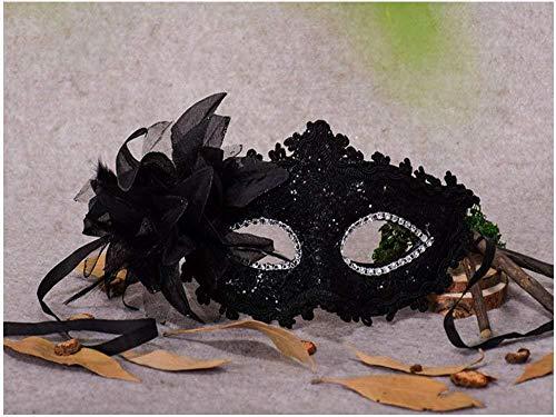 Anonym Weiblich Kostüm - Xiton Frauen Venedig Sexy Spitzen-Maske mit Strass Kostüm Masquerade Maske für Karneval, anonyme venezianischen Karnevalsmaske und Tanz, schwarz
