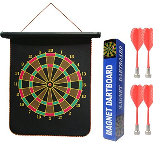 Double Faced Portable, Foldable High Quality Magnetic Dart Game With 4 Colourful Non Pointed Darts. Strong Magnetic Hold and Darts Stick