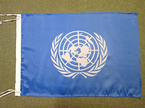 AZ FLAG Flagge VEREINTE Nationen UNO 45x30cm mit Kordel - United Nations Fahne 30 x 45 cm - flaggen Top Qualität (Nations-flag United)
