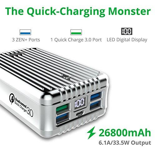 Rpido-de-colocacin-Monster-Zendure-A8-control-de-calidad-Cargador-porttil-26800mAh-con-Qualcomm-de-carga-rpida-30-Tecnologa-Super-alta-capacidad-de-batera-externa-con-indicador-digital-del-LED