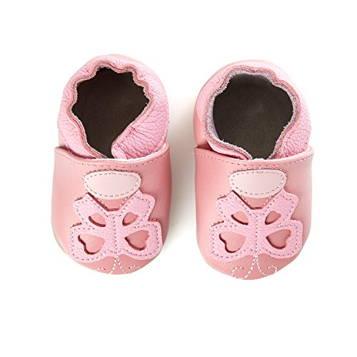 smileBaby Premium Leder Lauflernschuhe Krabbelschuhe Babyschuhe Rosa Schmetterling 0 bis 16 Monate