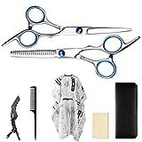 Kit Professionale Forbici Parrucchiere 1paio di forbici di taglio + 1scultore + 1Pettine a coda + 1Cape di parrucchiere + 1Mollette per capelli + panno di pulizia + Pochette