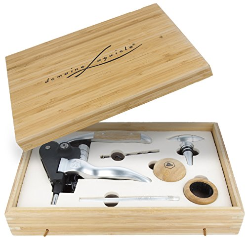 LAGUIOLE Aluminium Korkenzieher Wein Sommelier Set 8-teilig mit Bambusholz-Box Thermometer, Kapselschneider
