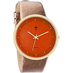 Belief Women's | Funky Minimalist Large Orange Face Metalic Gold Band Watch with Cross Logo | BF9658OR