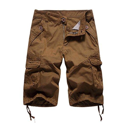 df695c603fc9 Herren Männer Casual Pocket Strand Arbeit lässig Kurze Hosen Shorts Hosen  (Kaffee, 40)