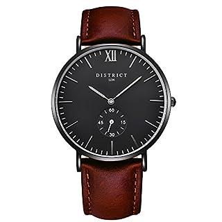 District London Ashford Edition Men's Watches - Slim Brown Leather Strap Analogue Quartz Designer Wrist Watch Luxury Classic Simple Casual Design Black Face Business Fashion Men's Wristwatch