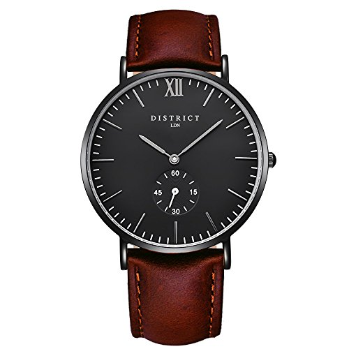 District London Ashford-Edition Herren-Uhren – Schlankes, braunes Lederband, Analog, Quarz, Designer-Armbanduhr, luxuriöses, klassisches, legeres Design, Schwarz, Business, Fashion, Herren-Armbanduhr