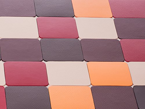 Sottobicchieri, Pelle Riciclata insieme di 4, Rosso, Marrone, Borgogna, Bianco, Arancione, 10 * 10 cm (Pelle Marrone 4 Coaster)