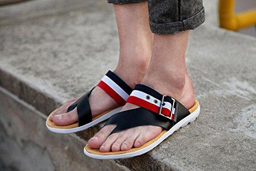 Männer Pantoffel Mode Rindsleder Flip Flops Anti-Rutsch langlebig und komfortable Sandalen Black