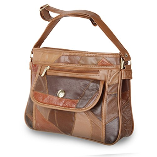 Friendz Trendz-Zipped Schlupftasche Patchwork Leder mit PU-Trimm-Geldbeutel -Handtaschen (tan) (Hobo Handtasche Patchwork)