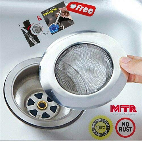 MTR Monit mantra Stainless Steel Sink Strainer Kitchen Drain Basin Basket Filter Stopper Drainer/Jali (4-inch/10 cm)