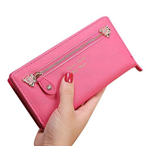 KOROWA Borsa a tracolla in pelle borsa borsa lunga donna Portafoglio borsa frizione borsa nera Prugna rossa