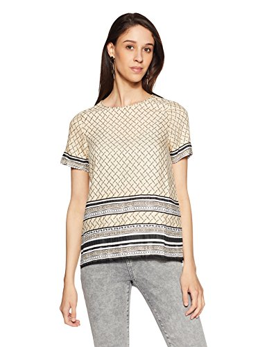VERO MODA Damen VMPENNY S/S Border MIDI TOP T-Shirt, Mehrfarbig AOP:Penny Print Ivory Cream Comb, 36 (Herstellergröße: S) -