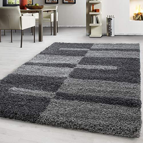 Hochflor Shaggy Teppich Rechteckig und Rund 3 cm Florhöhe Kariert Wohnzimmer, Farbe:Grau, Maße:160 cm x 230 cm