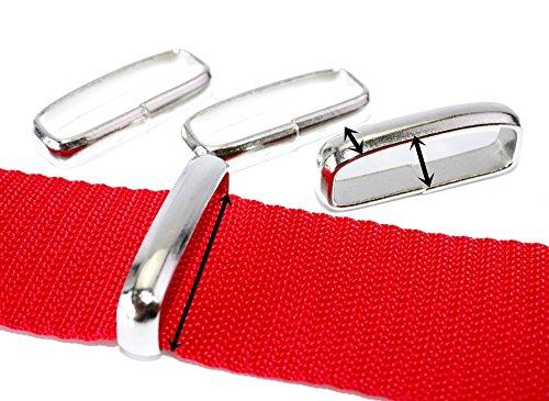 Schlaufe-Gürtelschlaufe flach-breit, Stahl vernickelt. Für Gurt/Band bis 40mm. 10 - Gürtelschlaufe