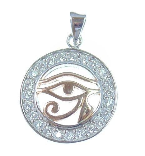 All '-œil, pendentif argent, oeil d'Horus, symbole de protection pour protection contre les énergies négatives, en argent sterling 925avec cristaux truc OCTOCOLOR, 18carats plaqué or rose