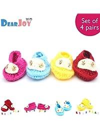 DearJoy New Born Baby Woolen Booties 0-12 Months (Set of 4: Multi-Color)