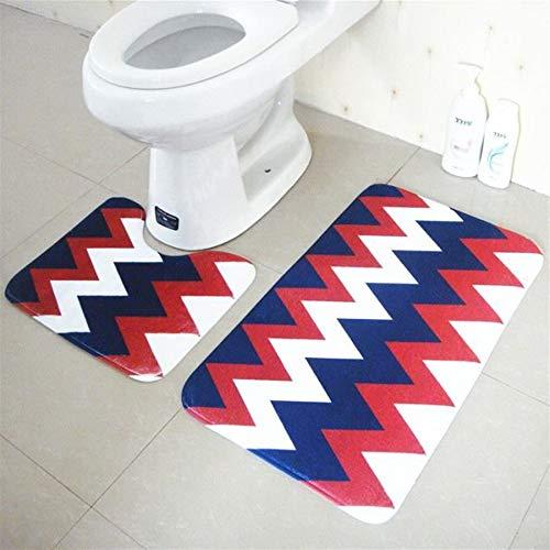 Preisvergleich Produktbild Mings Praktisch und langlebig 2Pcs Campus-Art-Badezimmer-Teppich-Mat Anti-Rutsch-U-Förmiger Teppich und rechteckiger Teppich