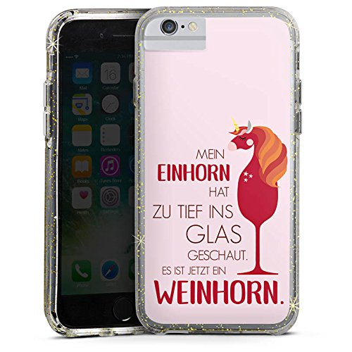 Apple iPhone 6 Bumper Hülle Bumper Case Glitzer Hülle Sayings Quotes Einhorn Bumper Case Glitzer gold