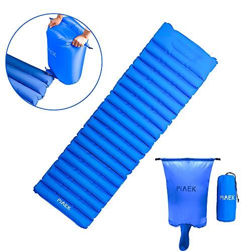nde Isomatte, Camping Isomatte Outdoor Ultraleicht Kleines Packmaß, Aufgeblasen durch Airbag,isomatte faltbar aufblasbare luftmatratze (190x56x9cm)(Blau) ()