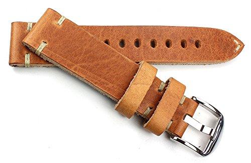 20mm Vintage Uhrenarmband aus Sattelleder Shabby shick Unikat Handgebürstet und Handgemacht in Deutschland hellbraun tan Tan Hirsch