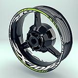 Felgenaufkleber Set Kawasaki ZX10R für Motorrad   17 Zoll   Felgenrandaufkleber & Felgenbettaufkleber   Vorder- & Hinterreifen Komplett-Set (Doppelt - glänzend)