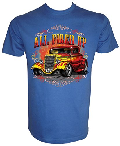 Hot Rod Vintage Fire Car T-Shirt in Größe S - 5XL Blau