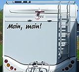 Aufkleber Moin moin Wohnmobil Wohnwagen Camper Camping Caravan Auto - 55 cm / Schwarz