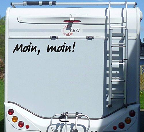 Aufkleber Moin moin Wohnmobil Wohnwagen Camper Camping Caravan Auto - 100 cm / Schwarz