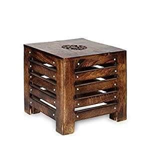 Artesia Solid Wood Hand Carved Side Table End Table Amazon In Home Kitchen