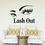 Decalcomania Adesivo da parete Lash Out Eye Ciglia Adesivi Ciglia Estensioni Sopracciglia Sopracciglia Salone di bellezza Make Up Vinyl 42X57CM