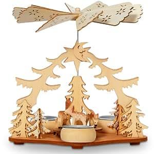 SIKORA - Pyramide de Noel en bois - thème forêt et biches - s'utilise avec bougies chauffe-plat - H : 21 cm - P22