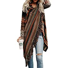 e0eee4cfd5ad77 Petalum Damen Jacke Winter Herbst Warm Elegant Lady Langarm Fransen Quasten  Lässig Asymmetrisch Stricken Stola Schal