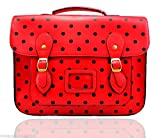 Ladies Girls Polka Dot Shoulder Medium Vintage Work Briefcase School Satchel Bag (Red)