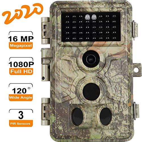 [2020 Neu] Agitato Wildkamera 16MP Wildtier Jagd Kamera HD 1080P Video, 120° Weitwinkel Waldkamera für Jagd, Naturbeobachtung- und Forschung, mit Nachtsicht, Bewegungsmelder, IP66 Wasserdicht