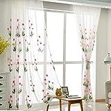 Voile Vorhang mit Ösen Transparent Gardine Ösen plissiert Zwei Panele Window Treatment für Gardinenstange 2 Stücke Verdunkelungsvorhänge,150 * 270/2