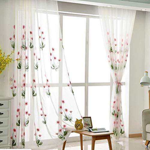 Voile Vorhang mit Ösen Transparent Gardine Ösen plissiert Zwei Panele Window Treatment für Gardinenstange 2 Stücke Verdunkelungsvorhänge,200 * 270/2 - Zwei Vorhänge Panel-grüne