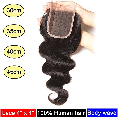 My-Lady® Tissage Bresilien Ondule Top Lace Closure 4*4 - Extensions de cheveux humains vierges (#1B Noir Naturel, 40cm)
