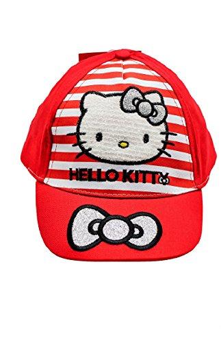Kappe, Baseball Cap, Schirmmütze für Kinder, Mädchen, 100% Baumwolle mit Klettverschluss verstellbar, Hello Kitty (52, Rot) Hello Kitty Baseball
