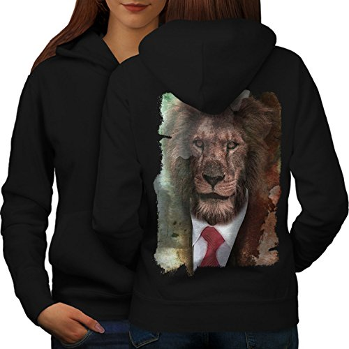 Monsieur Lion Visage Sauvage Animal Femme S-2XL Sweat à capuche le dos | Wellcoda Noir