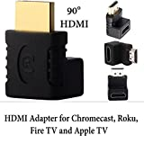 Exinoz Gold-Plated HDMI Adapter | Right Angle HDMI 90 Degree Adapter | HDMI to HDMI | Male to Female For HDMI Cable, Chromecast, Roku, Fire TV Stick & Streaming Devices