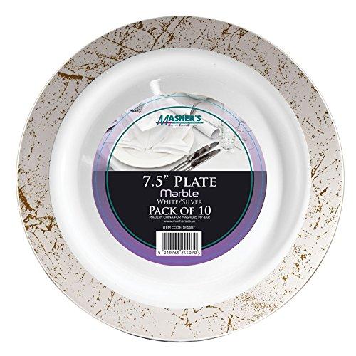 Stampfern weiß silber Marmor Einweg Kunststoff Party Teller/Schalen, plastik, weiß, 7.5